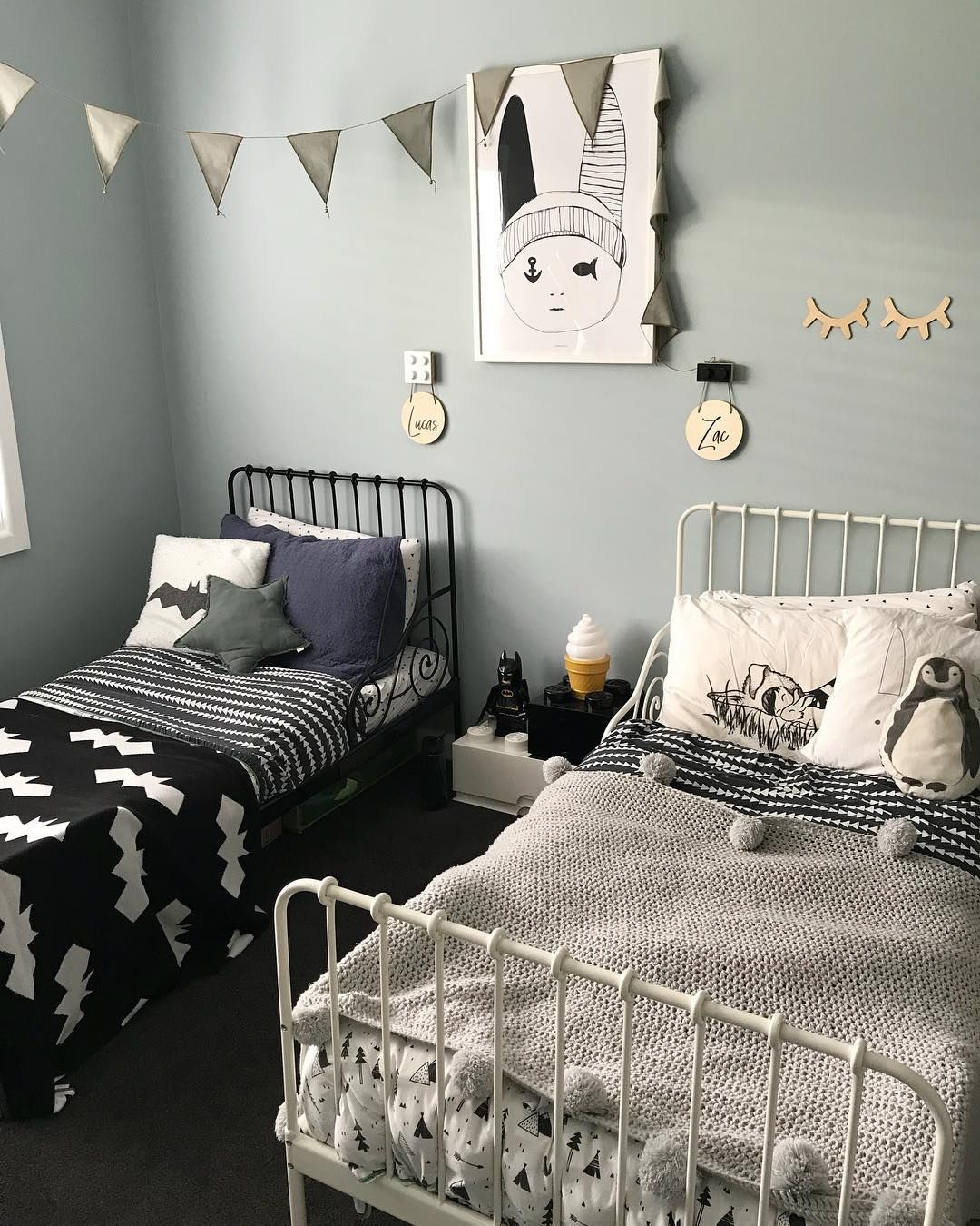 Such A Cute Shared Bedroom For Two Little Boys With A Black White