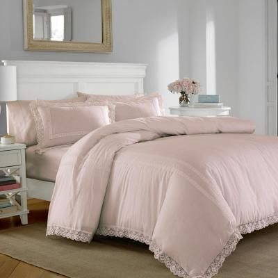 Photo of Laura Ashley Annabella 2-Piece Pink Twin Duvet Cover Set USHSFQ1044180 – The Home Depot