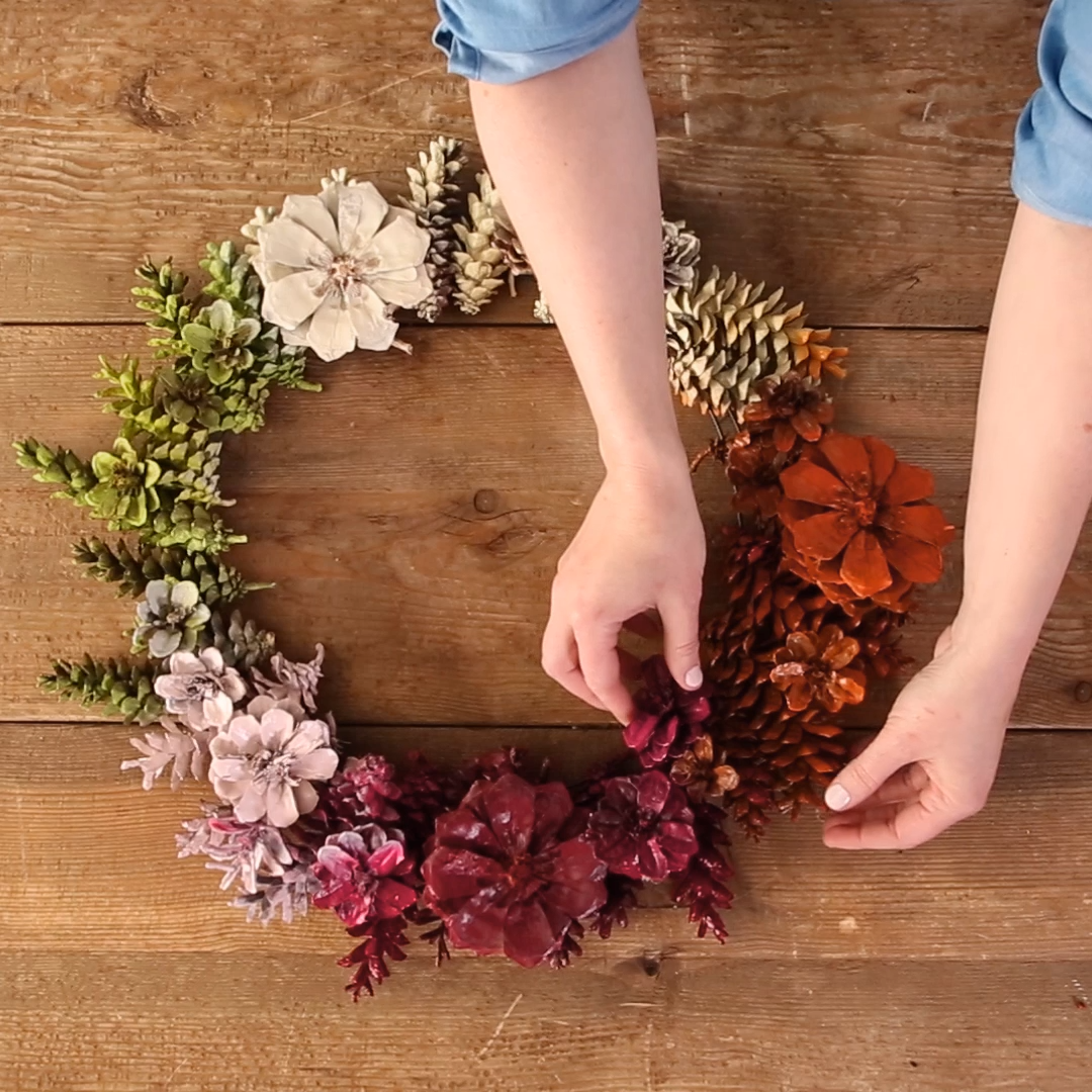 How to Make a Pinecone Flower Wreath