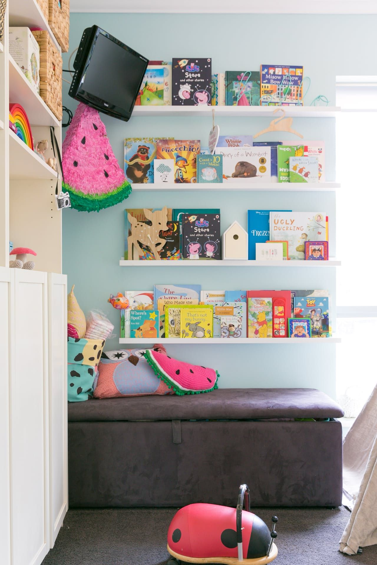 a bright happy family home in a backyard shed children