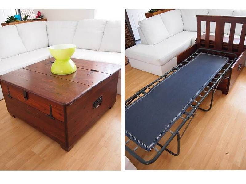 Funky Rustic Wooden Coffee Table Trunk Converts Fold Out Sofa Bed