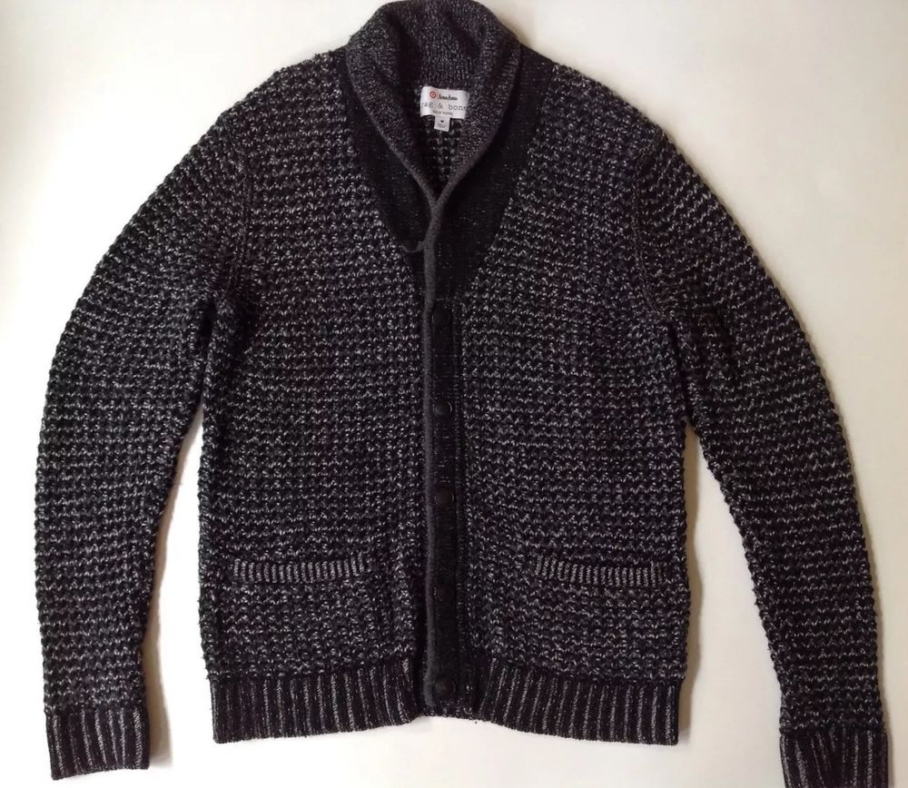 RAG & BONE TARGET Men's Black Wool Blend Button Knit Cardigan ...