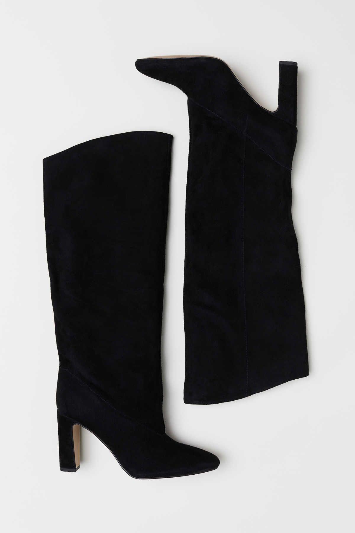 H&M Stiefel aus Veloursleder | Boots | Schwarze