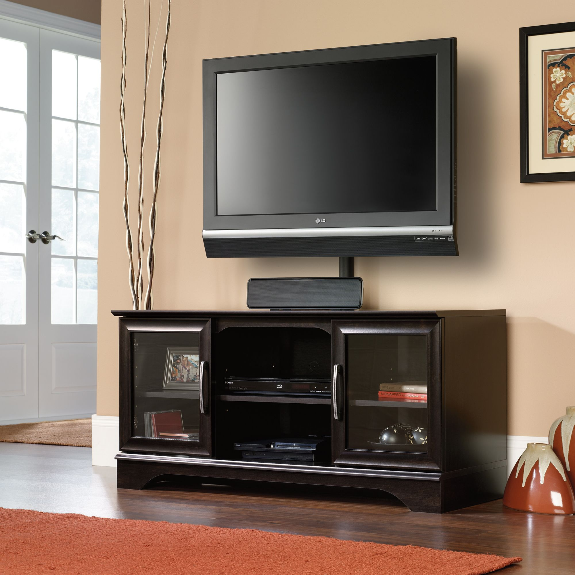 For The Right Tv Stand With Mount You Have To Consider A Number Of Factors Like Maximum Weight Capacity T Tv Stand With Mount Sauder Tv Stand Cool Tv Stands