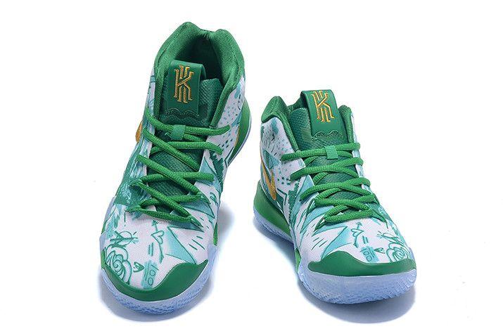 timeless design 62a84 e4438 Nike Kyrie 4 Boston Celtics Green White Gold Basketball Shoes-4