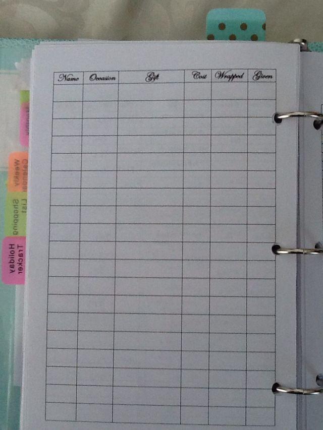 Gift tracker in DIY planner