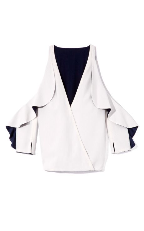 Shop Blouson Cold Shoulder Top by Bibhu Mohapatra for Preorder on Moda Operandi