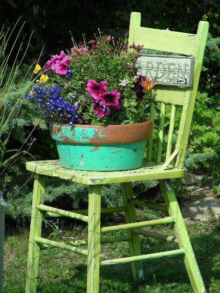 garden chair...love that rustic pot   outside things I ...