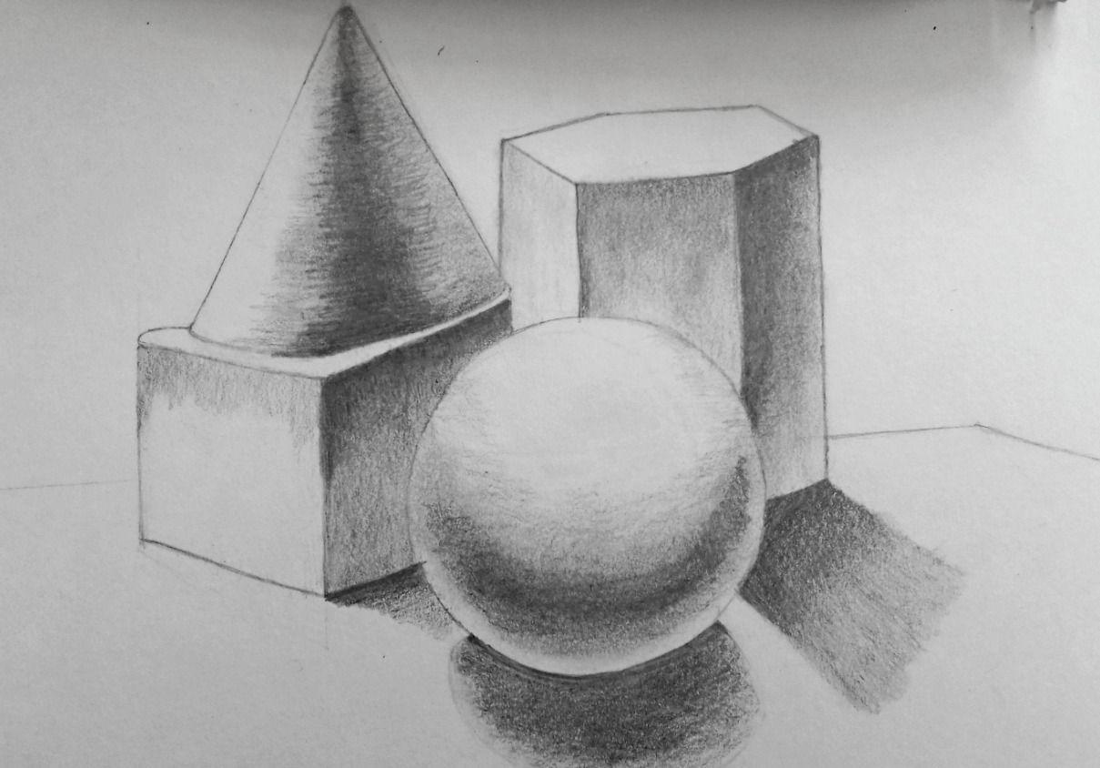 An pencil sketch of 3d shapes