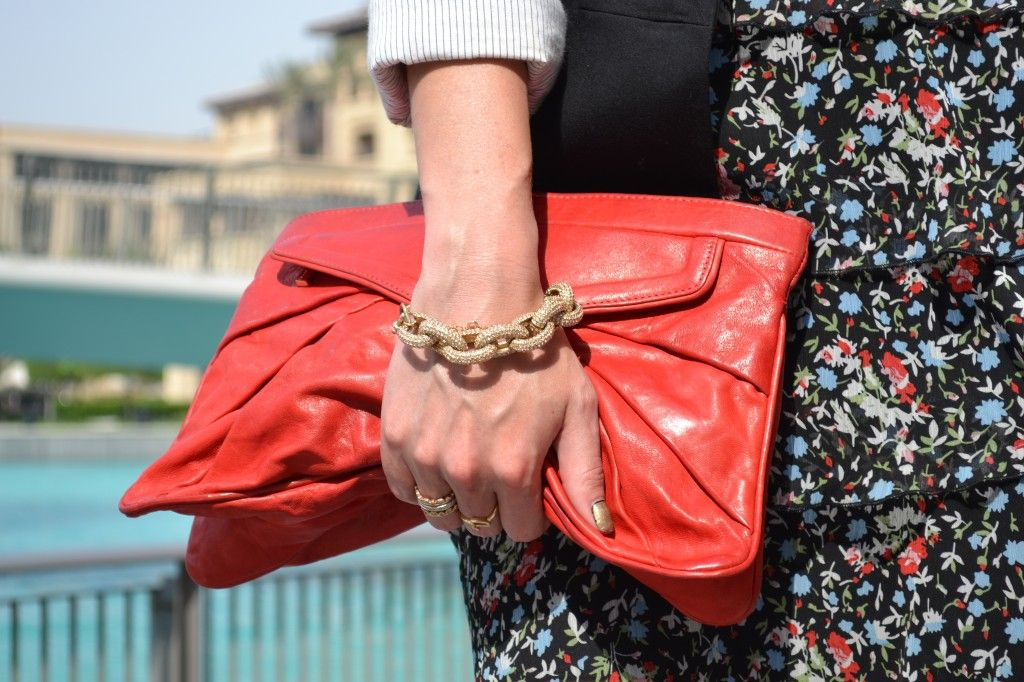 red clutch #jcrew bracelet
