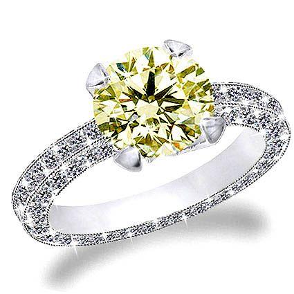1 Carat Canary Diamond In Three Sides Diamond Pave Set Engagement Ring, 14  K Gold.