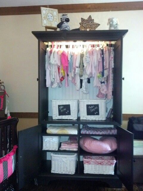Repurposed This Old Tv Armoire Into A Wardrobe For My Granddaughters Nursery Cool Pinterest And Baby