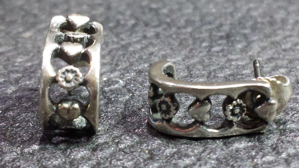 Retired Rare James Avery Sterling Silver J Hoop Hearts Flower Post Earrings Htf Jamesavery Hoop Fine Earrings Post Earrings Sterling Silver