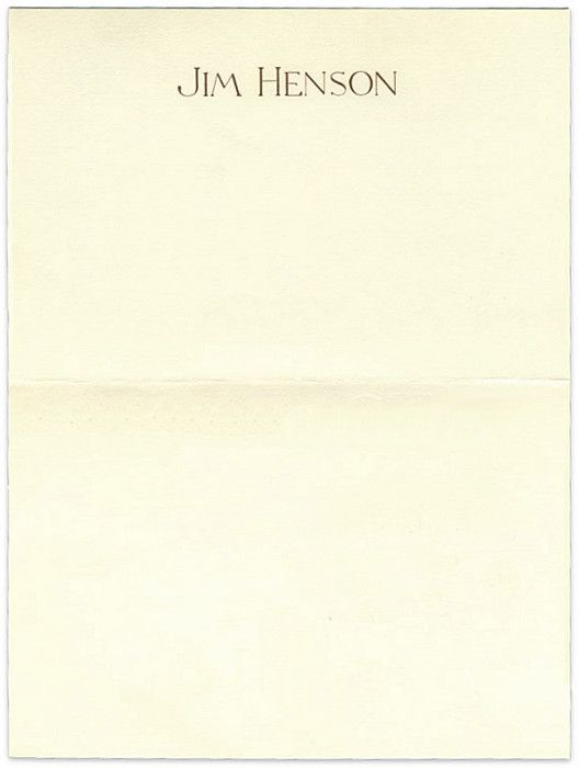 Jim Henson, 1988 Source The personal letterhead of Jim Henson - personal letterhead