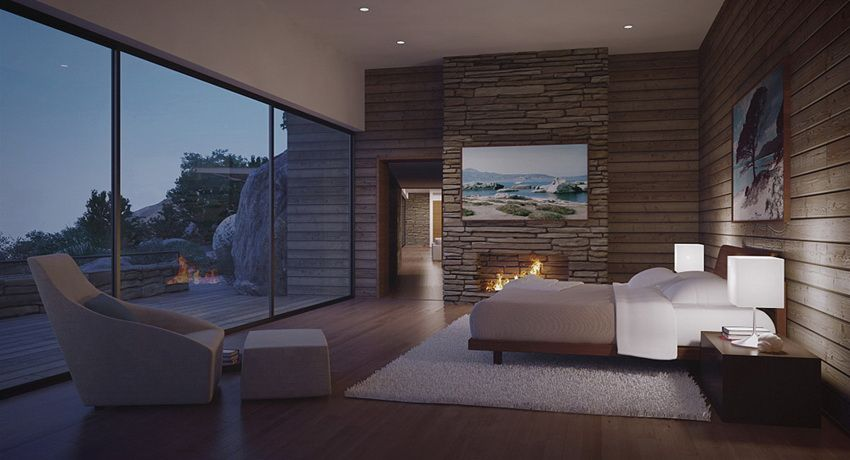 Modern bedroom with view by fire light dream homes for Mountain modern bedroom