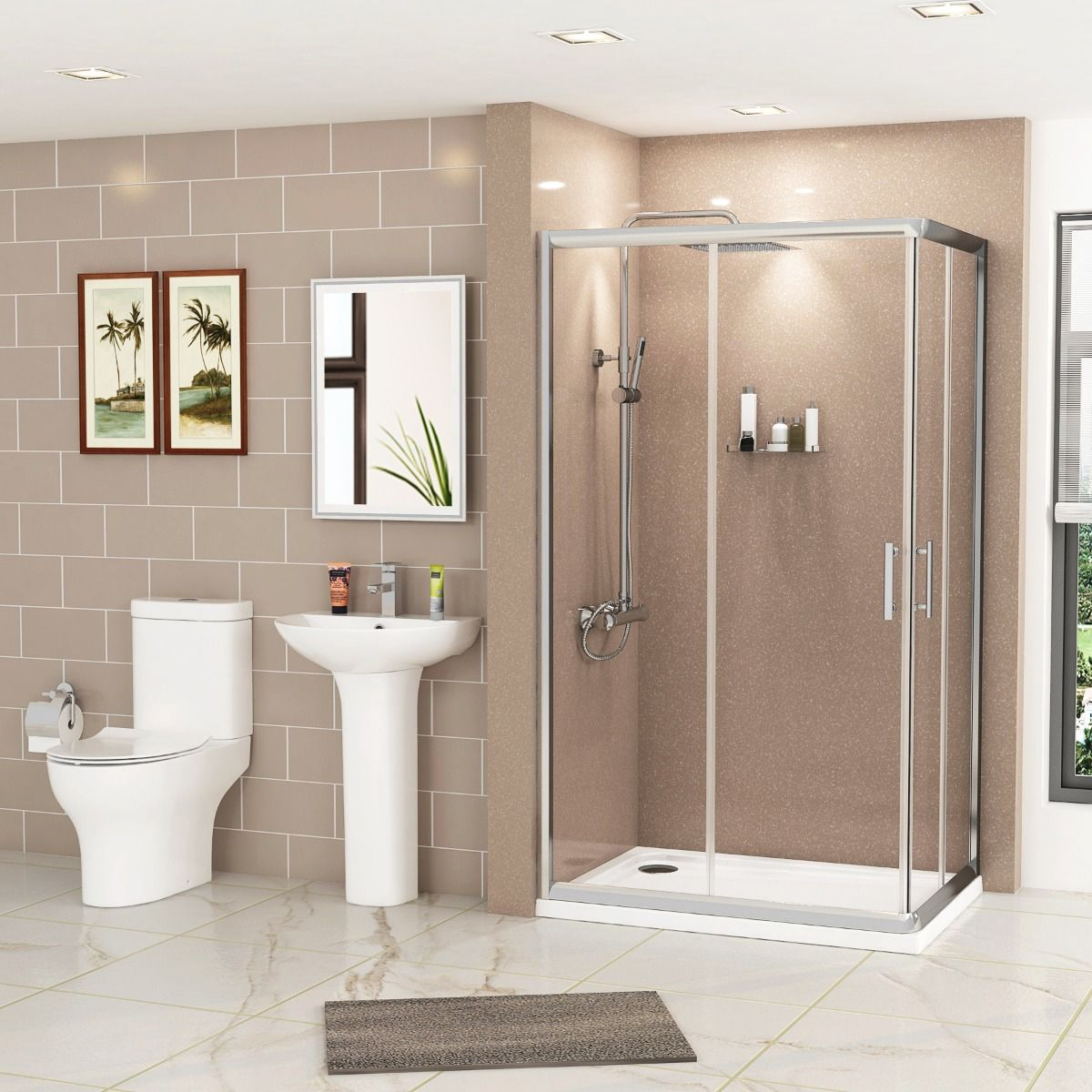 1100 X 1100mm Corner Entry Shower Enclosure Suite With Breeze Close Coupled Toilet Basin In 2020 Close Coupled Toilets Shower Enclosure Toilet Width