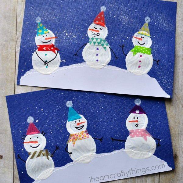 Winter Snowman Bottle Cap Print Craft | AllFreeKidsCrafts.com
