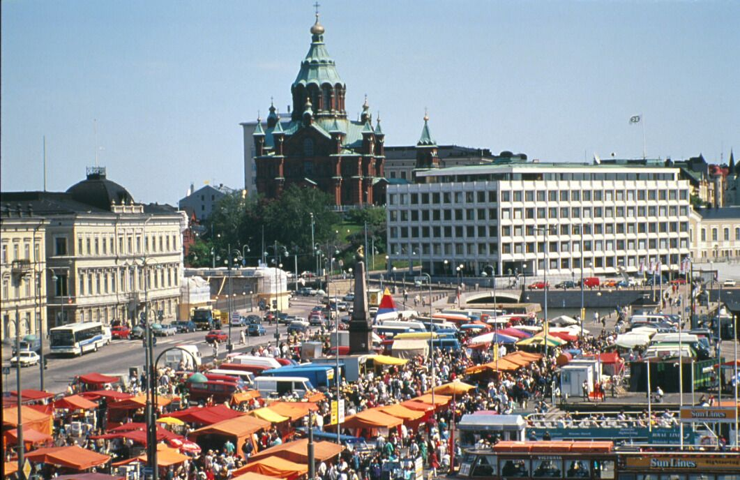 Helsinki market square with uspensky cathedral in the