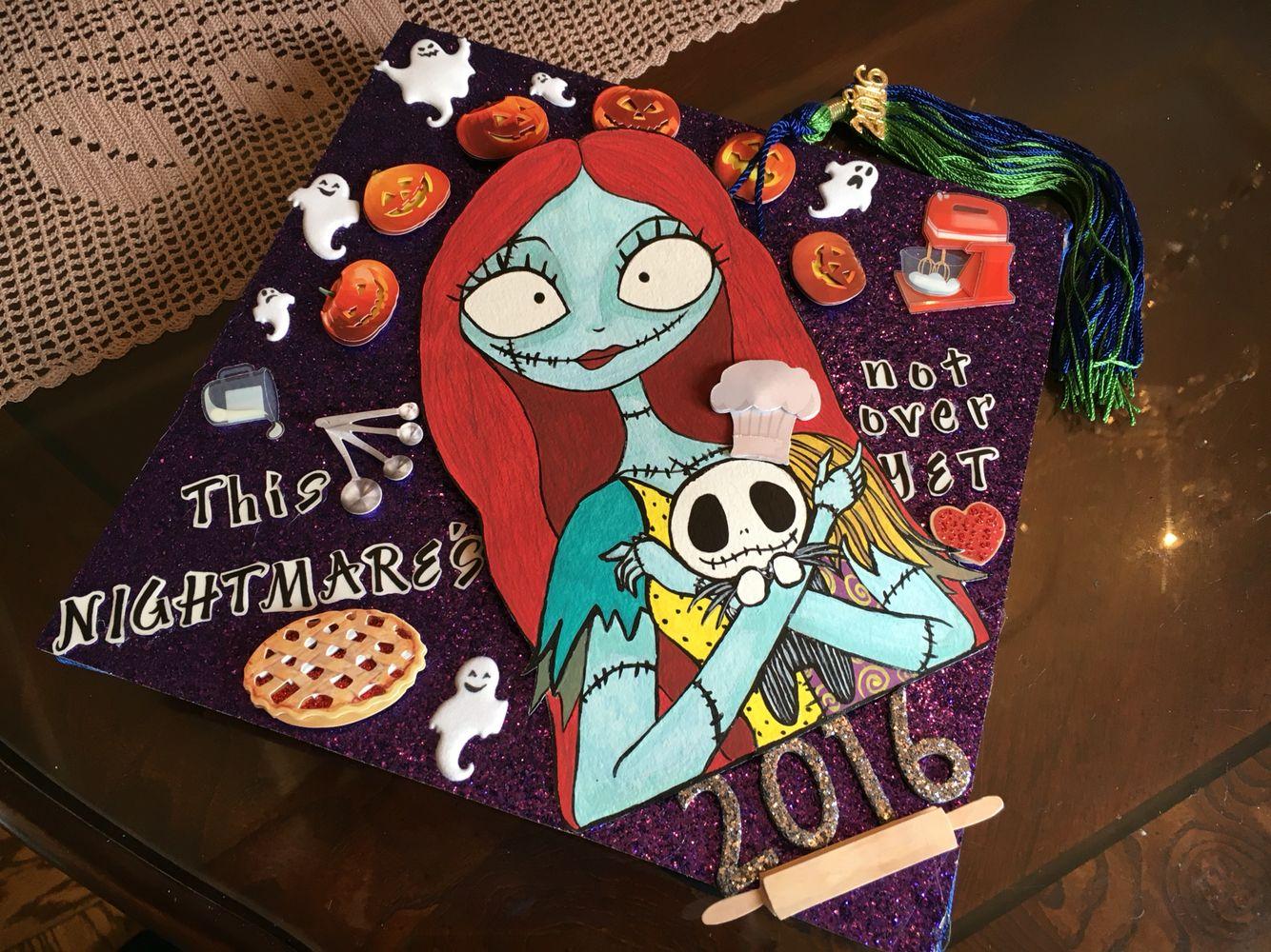 b2ca35df This NIGHTMARE'S not over YET ' 2016 graduation cap . my original design  .purple