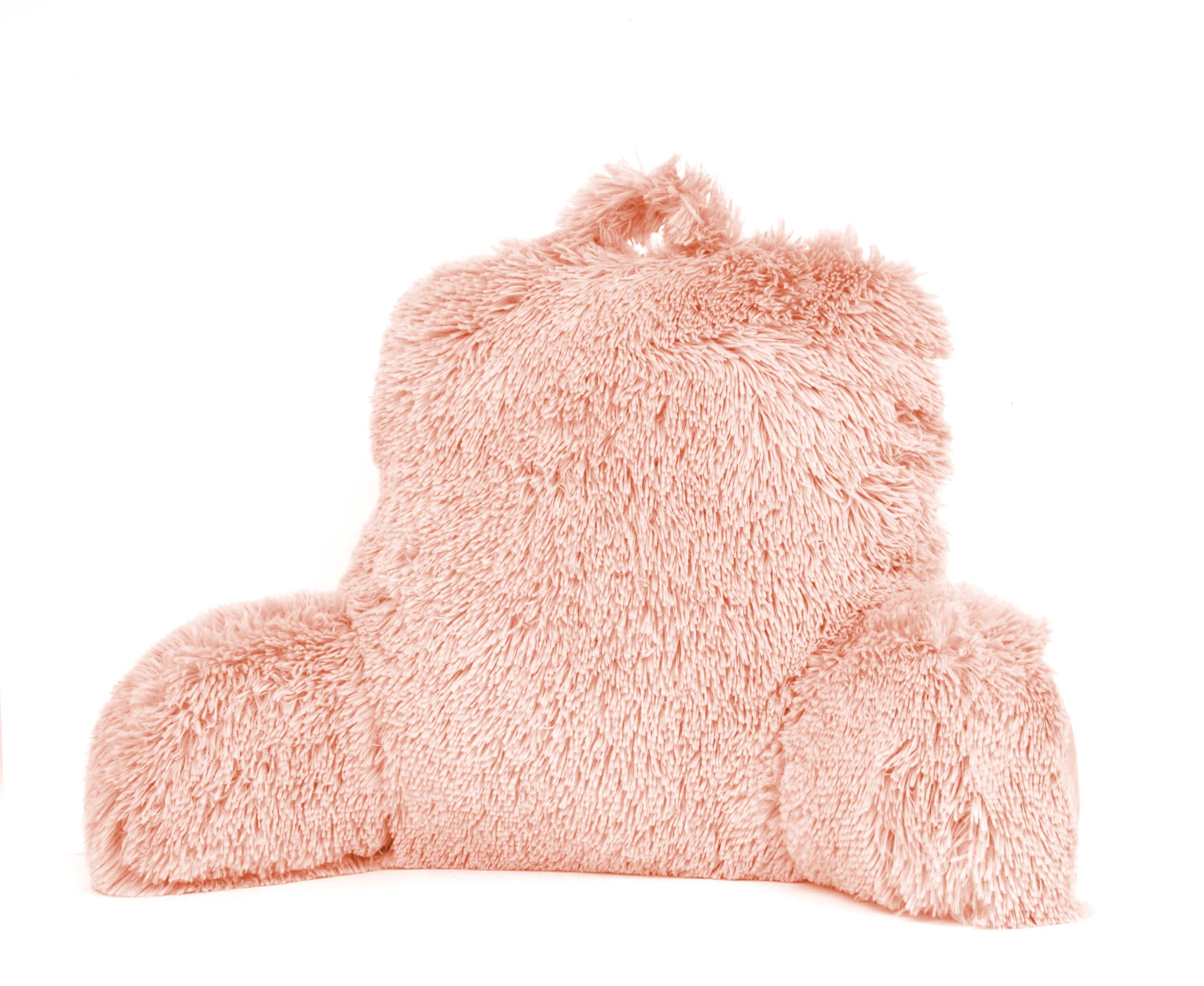 Mainstays Long Hair Faux Fur Backrest Pillow, Blush