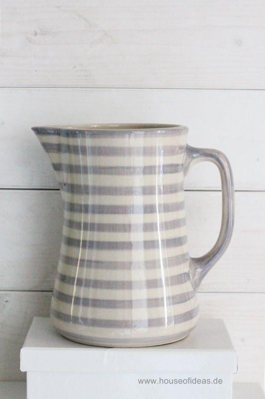 Krug hoch Bunzlauer Keramik 1,3 L grau | Geschirr, Bauernhaus und ...