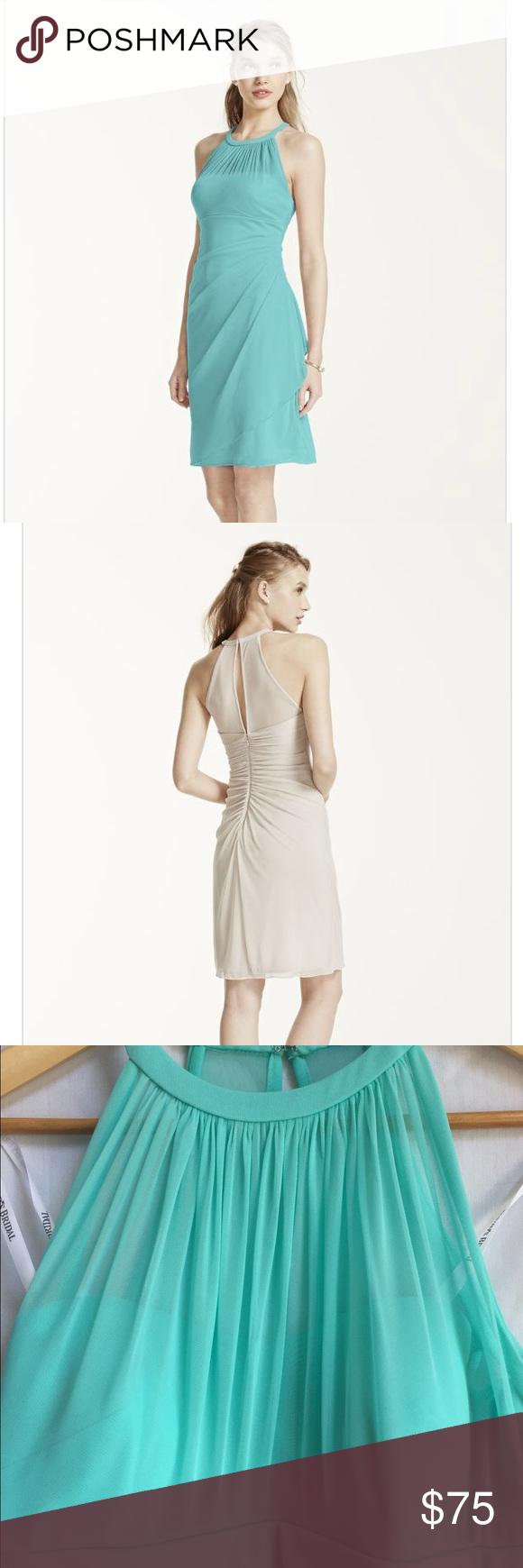 Sleeveless short mesh dress with side cascade bridesmaid dress
