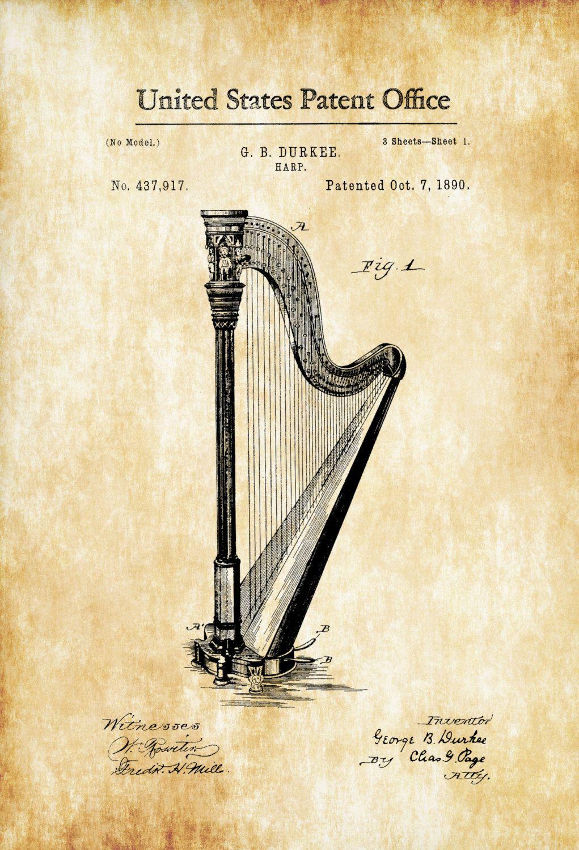 Harp Patent 1890 – Patent Print, Wall Decor, Music Poster, Music Art ...