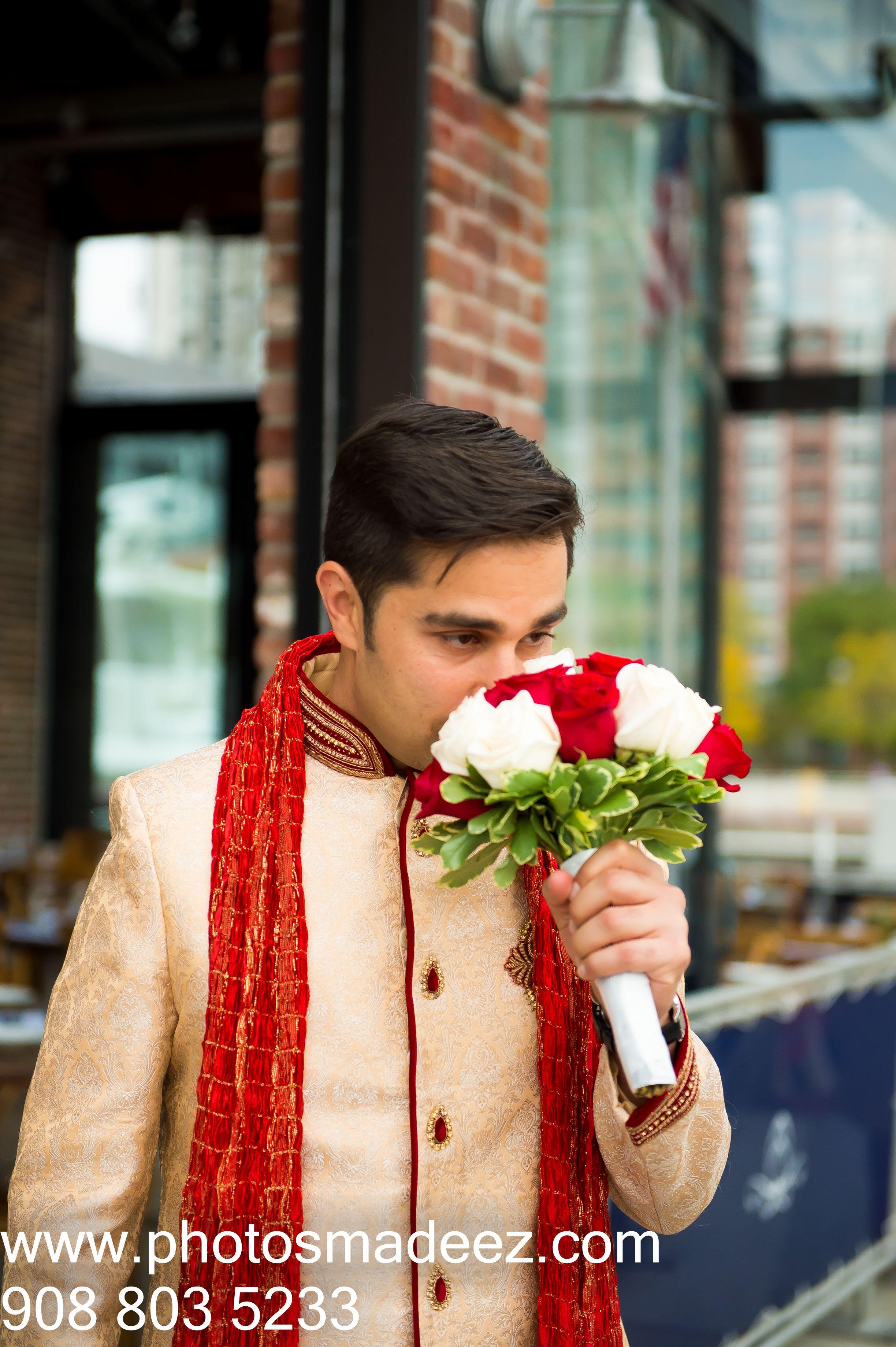 Groom With Flower Bouquet At Westin Jersey City Punjabi Wedding In New WeddingIndian PhotographerFlower