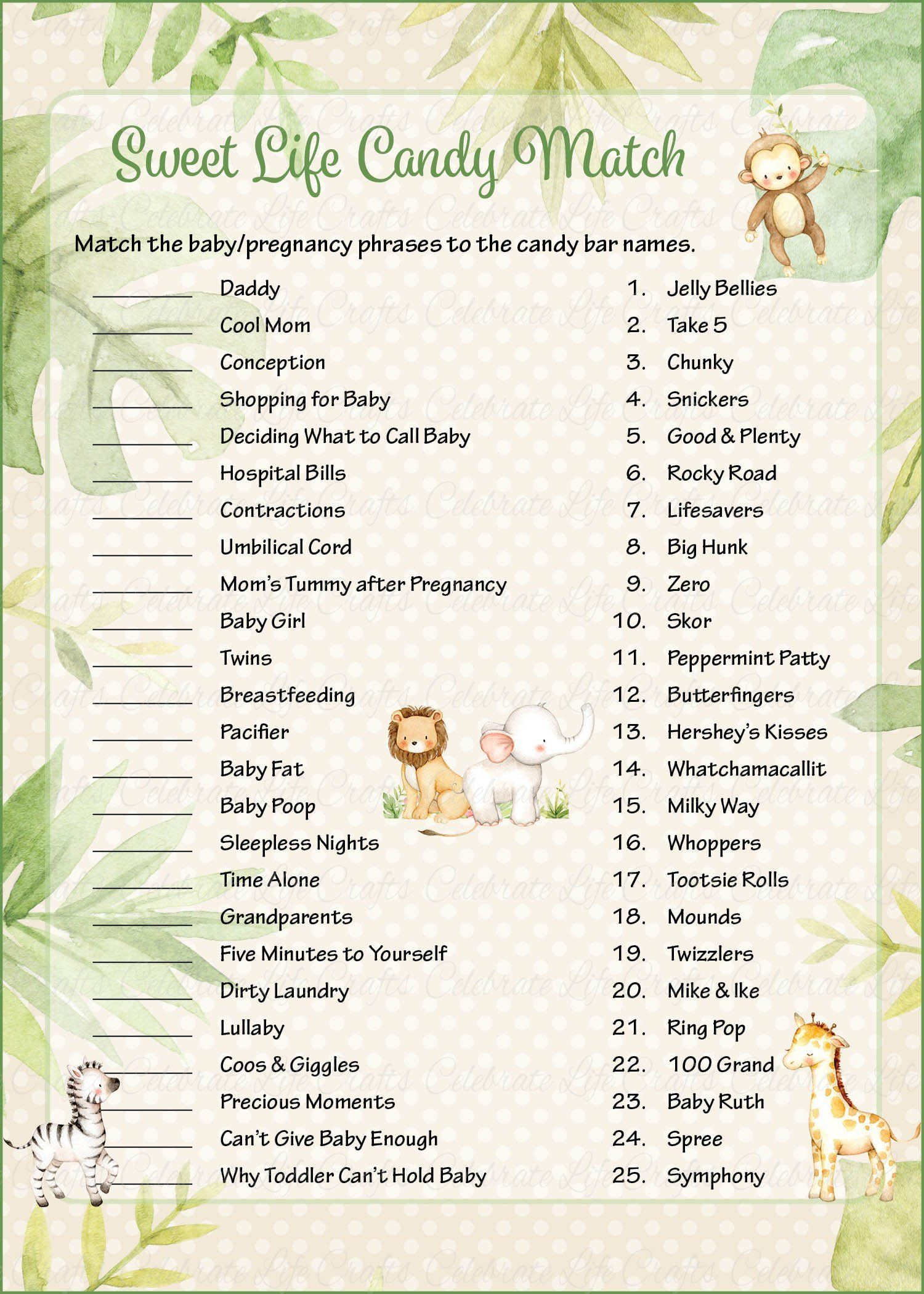 Sweet Life Candy Match Safari Baby Shower Game