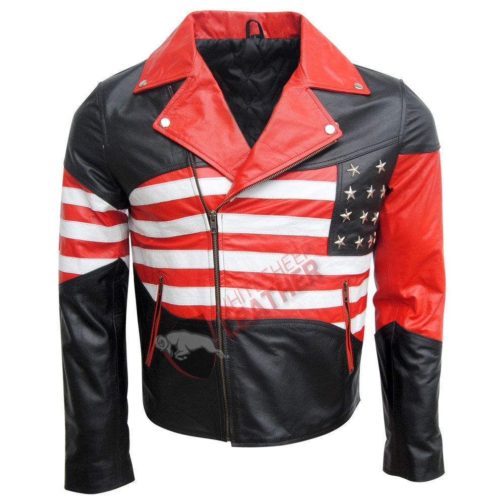 New Men American USA Flag Motorcycle Genuine Leather