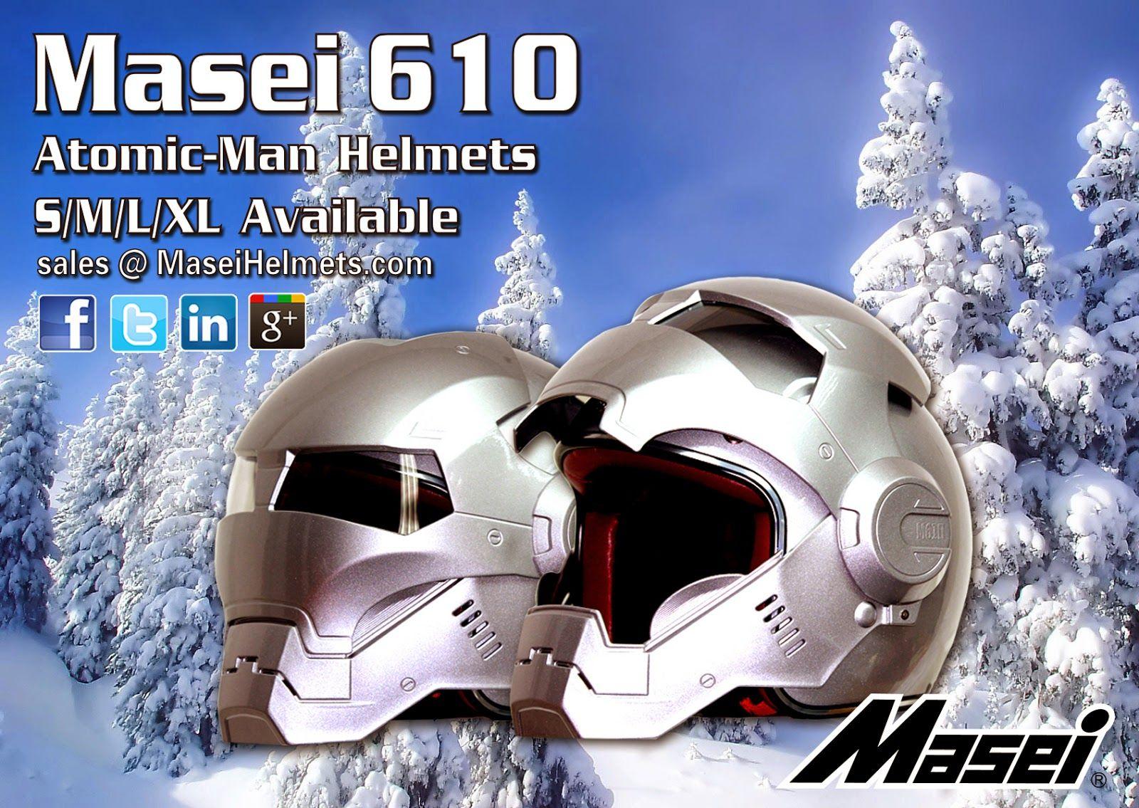 Masei 610 Atomic-Man Motorcycle DOT Snowmobile Harley Davidson Helmet in Silver Color