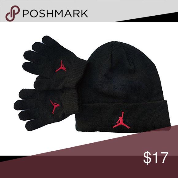 Nike Jordan Boy`s Cuffed Beanie   Gloves Set Nike Air Jordan Boy`s Winter Cuffed  Beanie   Gloves Set. Black University Red Nike Accessories Hats ad8a18443ec