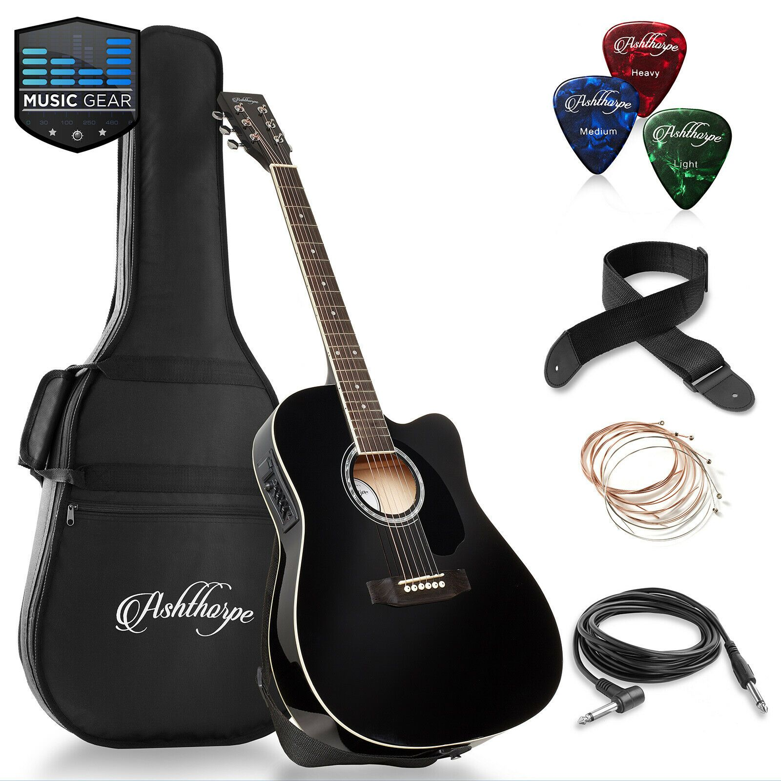 Full Size Cutaway Thinline Acoustic Electric Guitar With Gig Bag Ideas Of Guitar Gui In 2020 Acoustic Electric Guitar Acoustic Electric Electric Guitar Accessories
