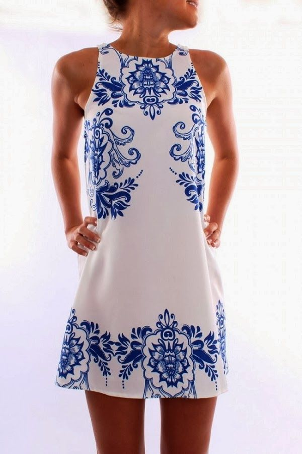 31e0d6b6b91 Blue porcelain print white tank dress Shift Dresses