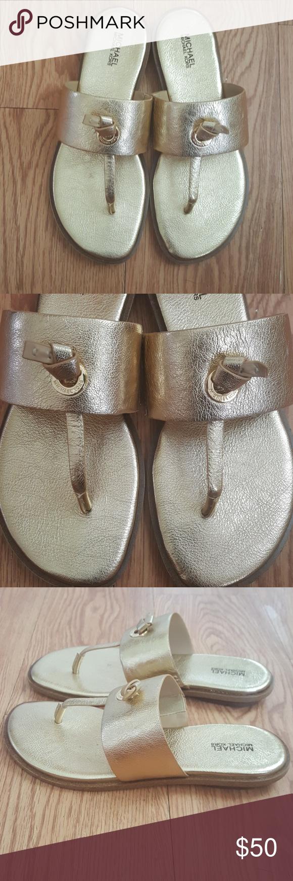 5258cc347d3 Michael Kors Cindy Sandal Metallic Leather Size 7M New with the box Michael  Kors Cindy Sandal Color  Gold Metallic 1
