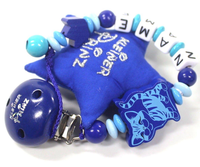 Schnullerkette mit Namen Bagger Baby Schnullerhalter Junge blau