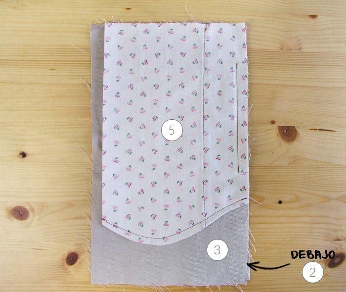 Colocar todas las piezas del bolsillos alineadasAcabar la costura ...