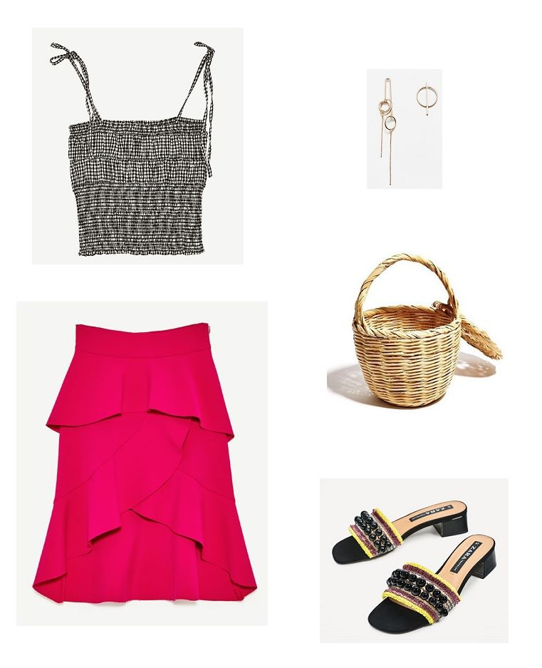 Time for Fashion » Style Consultancy. Black and white gingham top+fuchsia ruffled midi skirt+black embellished mules+wicker basket-bag+earrings. Summer Casual Outfit 2017