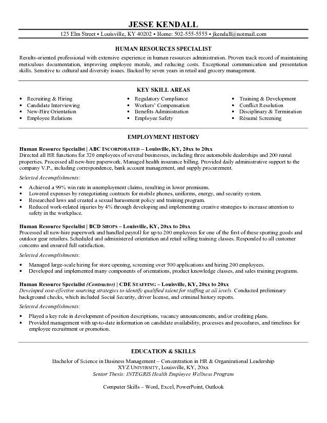 Pin by Amber Schmidt on Good To Know Pinterest - hr specialist resume