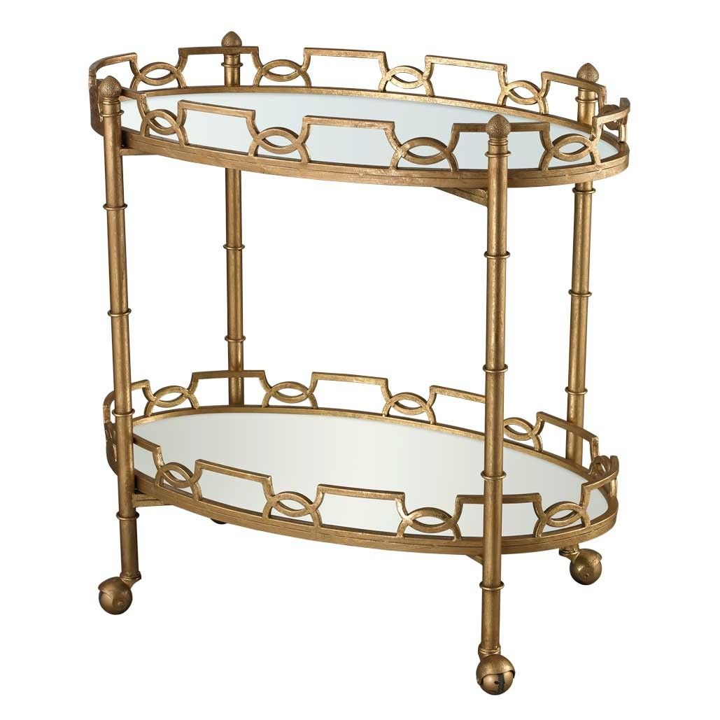 Curvilinear Two Tier Tray Bar Cart