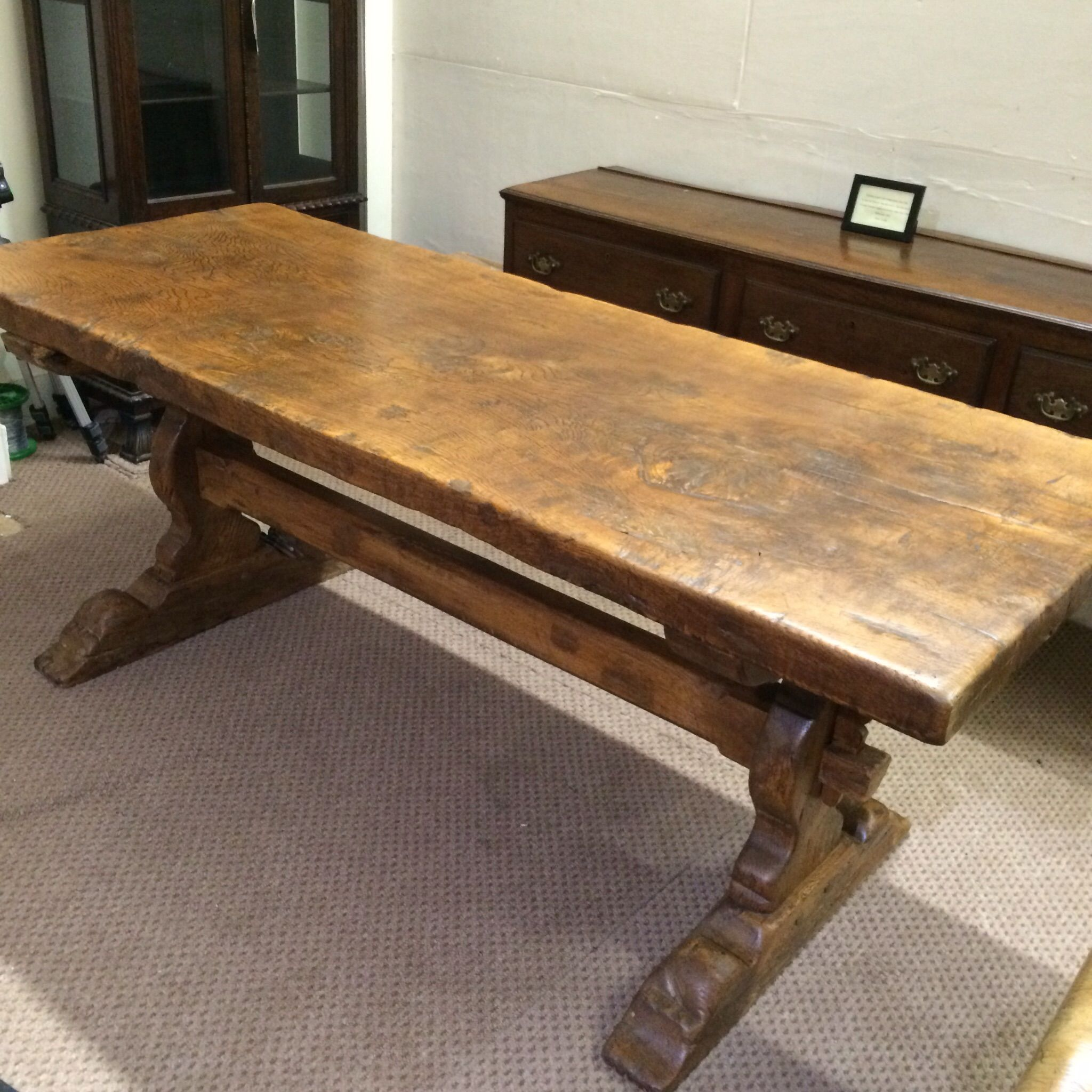 Bon A Great And Good Looking Antique Trestle Table.