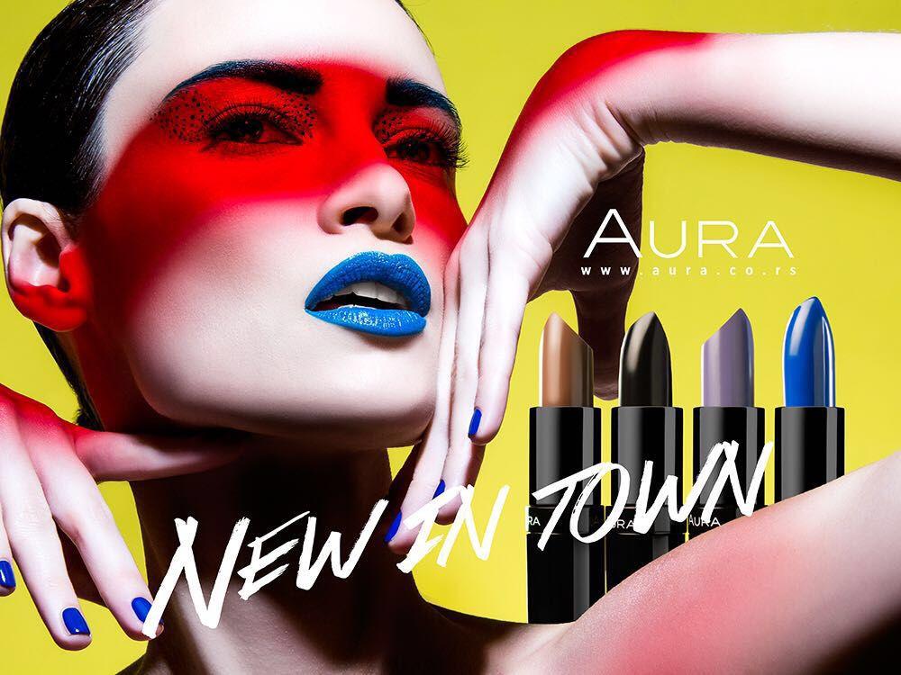New in town! AURA!  photo: @milosnadazdin / make up: @m.r.s._makeup / hair: @djukaivanovic / design: @stanislavzakic / model: @jelena_stella #aura #makeup #lipstick #campaign
