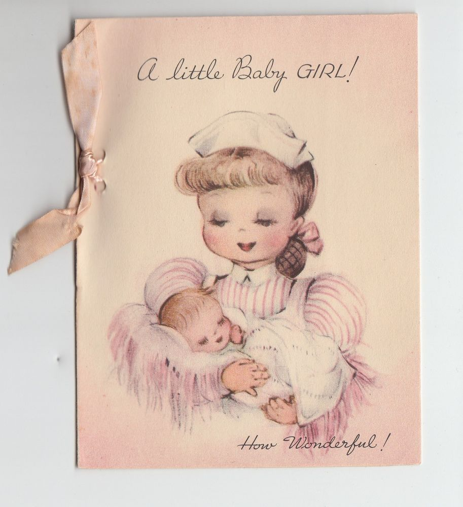 Vintage baby girl pink bow nurse congratulations greeting card vintage baby girl pink bow nurse congratulations greeting card kristyandbryce Image collections