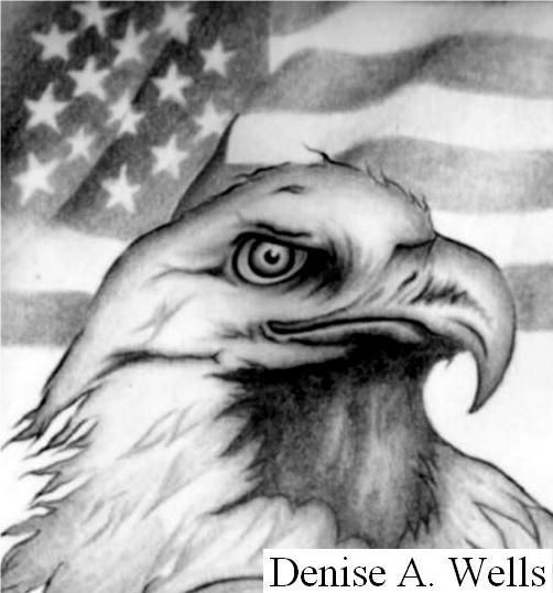993315f8d376 Eagle and American Flag Tattoo Design by Denise A. Wells