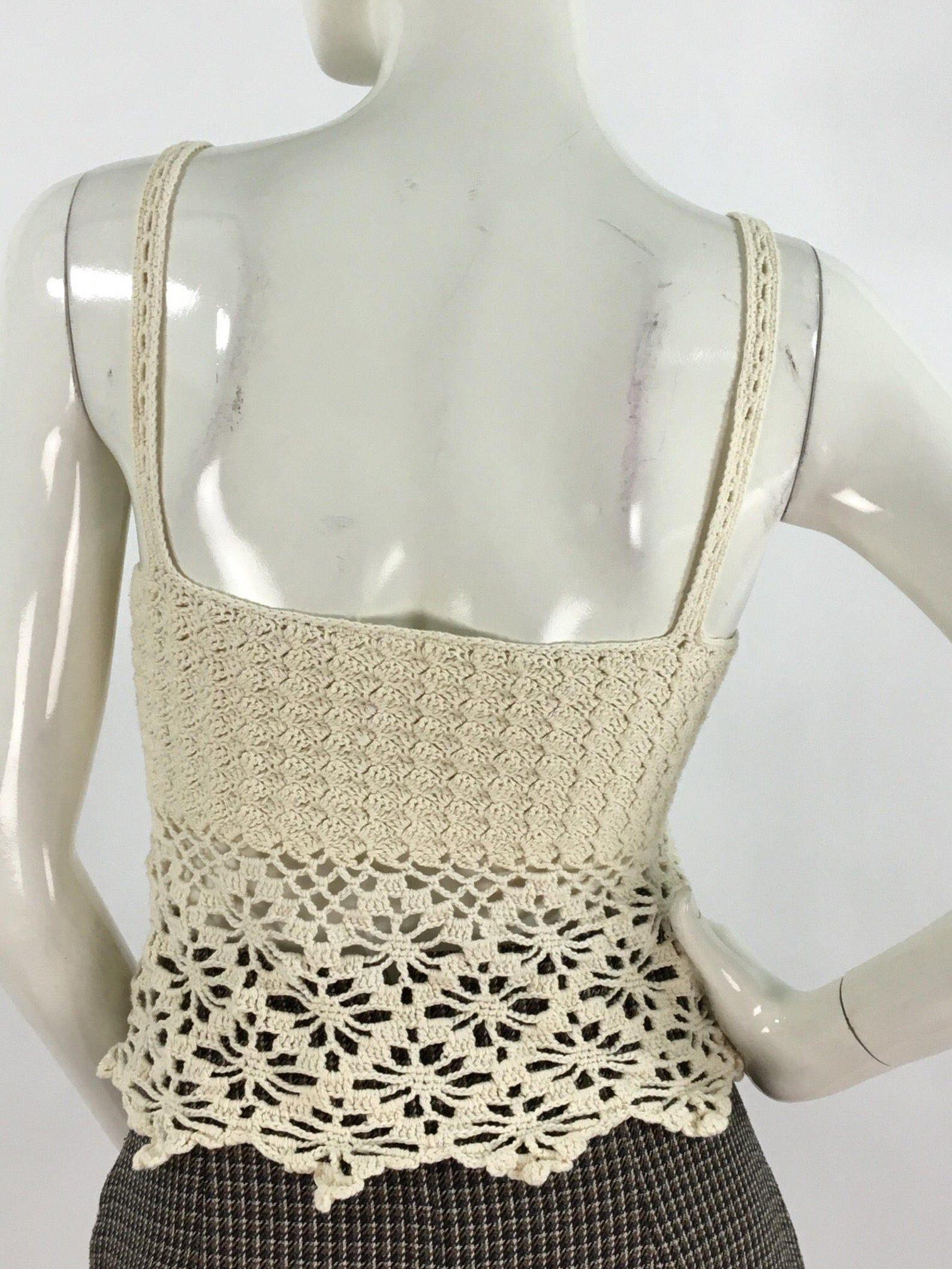 Vintage off white crochet top/crochet tank top/vintage crochet top #crochettanktops
