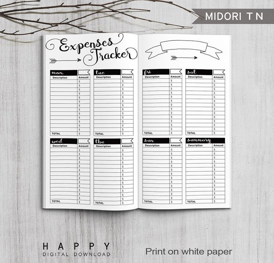 Printable Expenses Tracker, Midori Expenses Tracker, Printable ...
