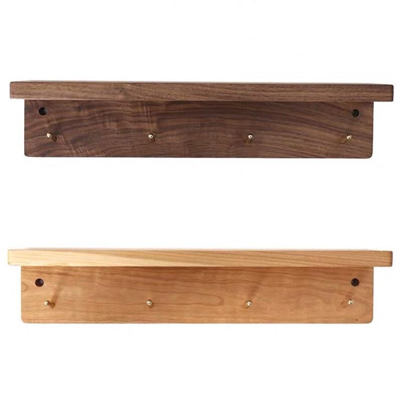 Walnut Wooden Wall Shelf With Hangers Coat Racks With Brass Etsy Wooden Wall Shelves Wall Shelves Wooden Walls