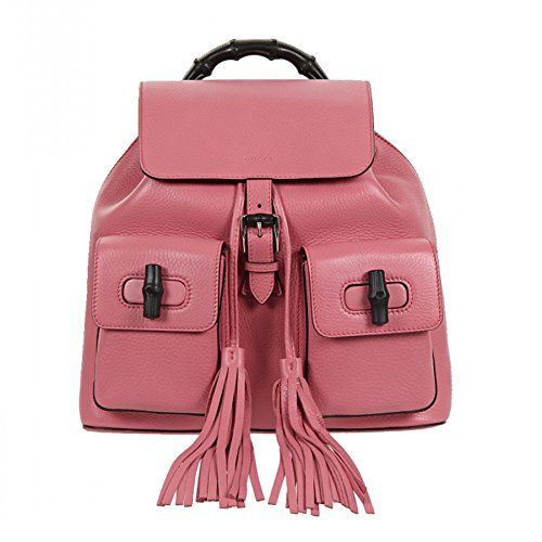 00f25bcdd523 Gucci Bamboo Leather Backpack 370833 5528 (Bright Pink) | Backpack ...