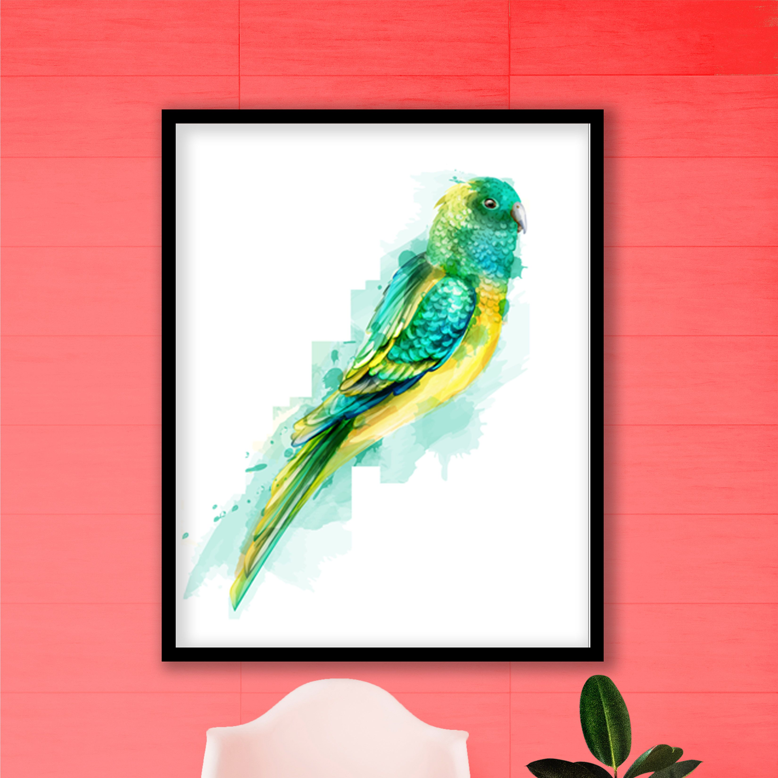 Botanical 50 watercolor painting framed wall art ready