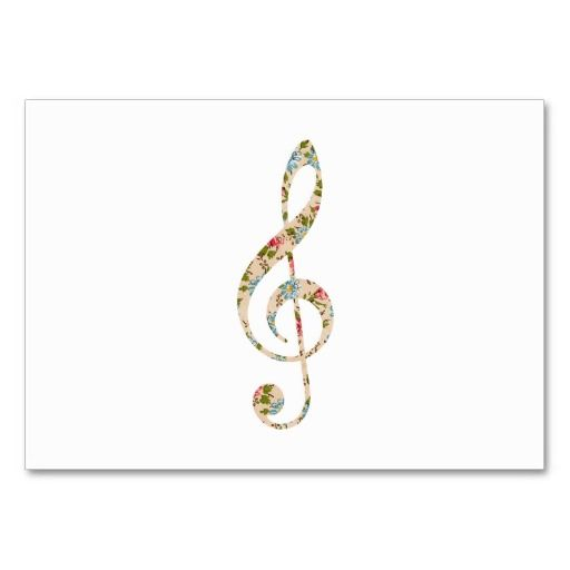 Whimsical cute girly floral retro music Note Business Card